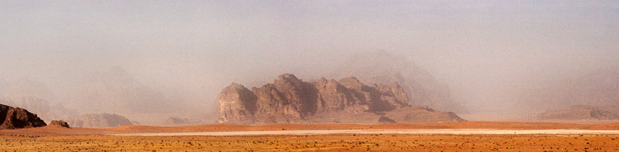 Panorama with dust storm